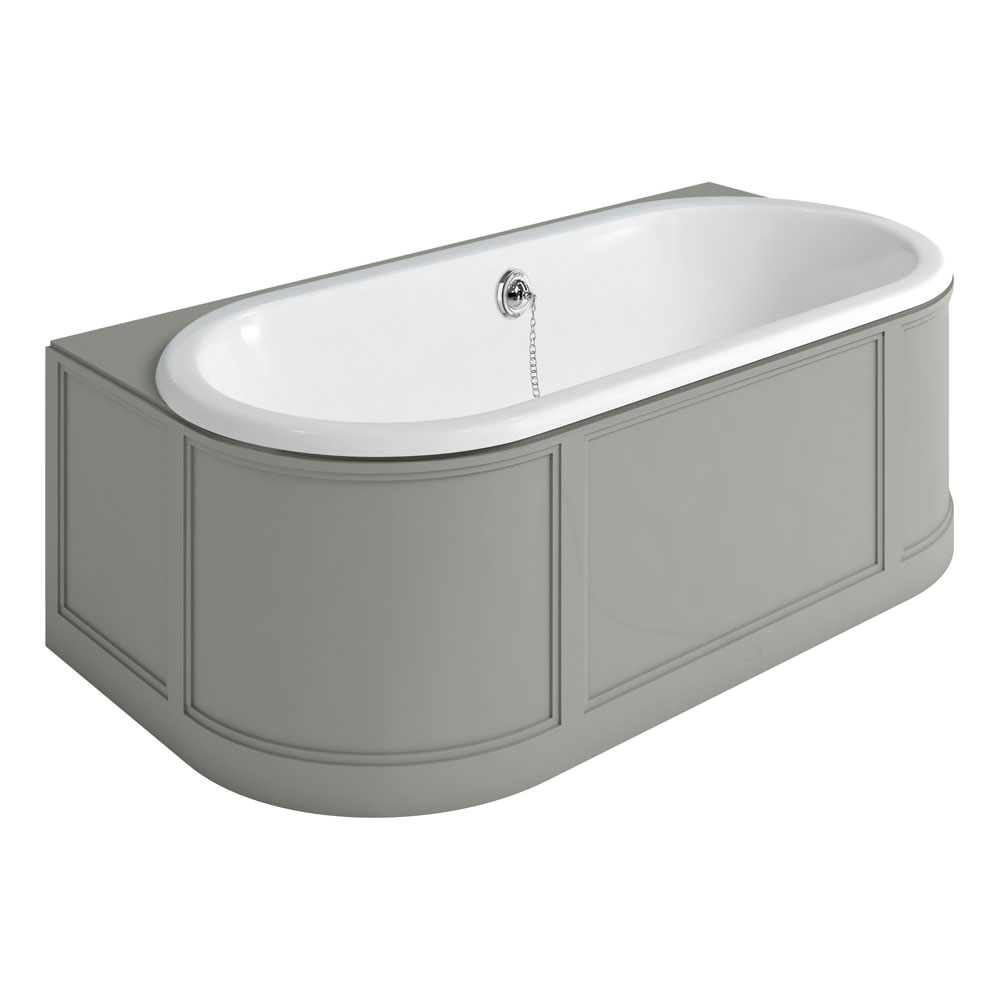 Burlington London 1800mm Back to Wall Bath with Curved Surround & Waste - Dark Olive Large Image