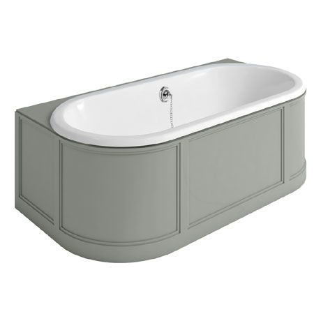 Burlington London 1800mm Back to Wall Bath with Curved Surround & Waste - Dark Olive