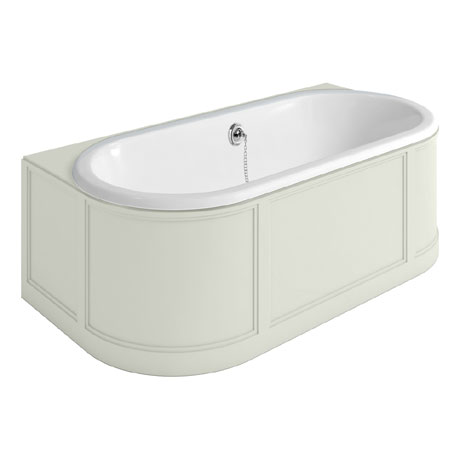 Burlington London 1800mm Back to Wall Bath with Curved Surround & Waste - Sand