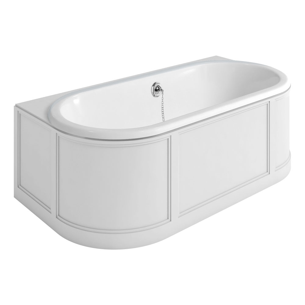 Burlington London 1800mm Back to Wall Bath with Curved Surround & Waste - Matt White Large Image