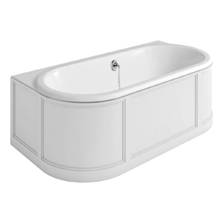 Burlington London 1800mm Back to Wall Bath with Curved Surround & Waste - Matt White