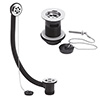 Nuie Bath & Basin Waste with Poly Plug & Ball Chain - Chrome profile small image view 1