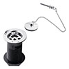 Hudson Reed Contract Basin Waste with Brass Plug & Ball Chain - Chrome - E395 profile small image view 1