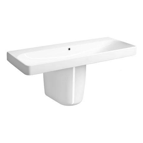 Twyford E500 Square 1200mm 0TH Basin & Semi Pedestal