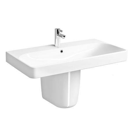 Twyford E500 Square 900mm 1TH Basin & Semi Pedestal