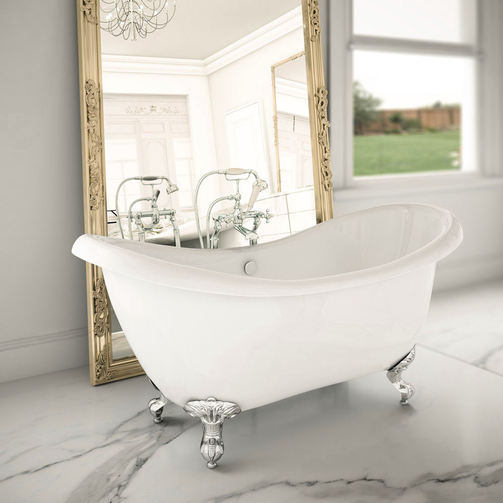 Earl 1750 Double Ended Roll Top Slipper Bath + Chrome Leg Set