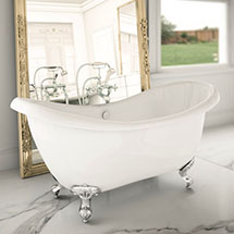 Earl 1750 Double Ended Roll Top Slipper Bath + Chrome Leg Set Medium Image