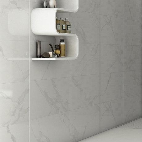 Rhodes White Gloss Marble Effect Wall Tile - 33.3 x 55cm