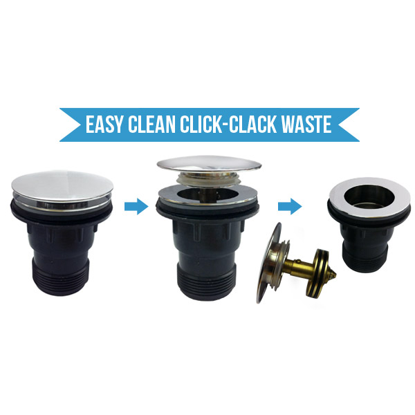 Easy Clean Chrome Click Clack Bath Waste with Overflow - ECBW1 Profile Large Image
