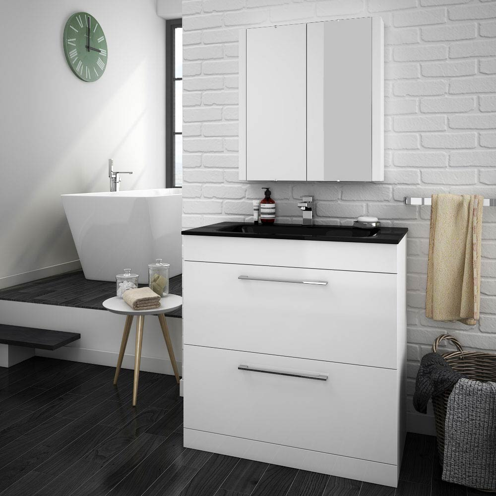 Eclipse Black Modern 2 Drawer Vanity Unit (800mm Wide - 1 Tap Hole)  Profile Large Image