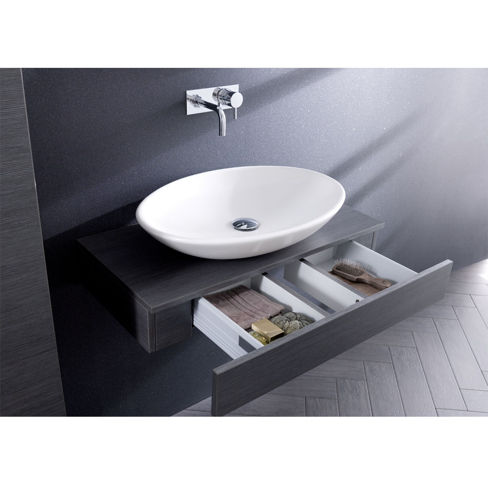 Bauhaus - Edge Single Drawer Console Unit - Steel In Bathroom Large Image