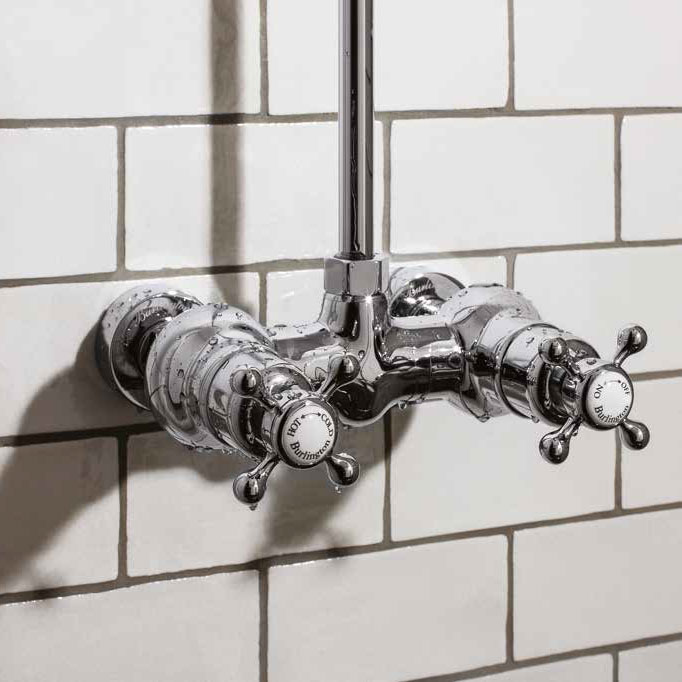 Burlington Eden Thermostatic Single Outlet Exposed Shower Bar Valve & Rigid Riser with Fixed Head profile large image view 2