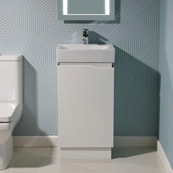 Tavistock Edge 450mm Freestanding Unit & Basin - Gloss White Profile Large Image