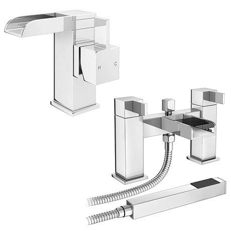 Edge Waterfall Basin + Bath Shower Mixer Tap Pack