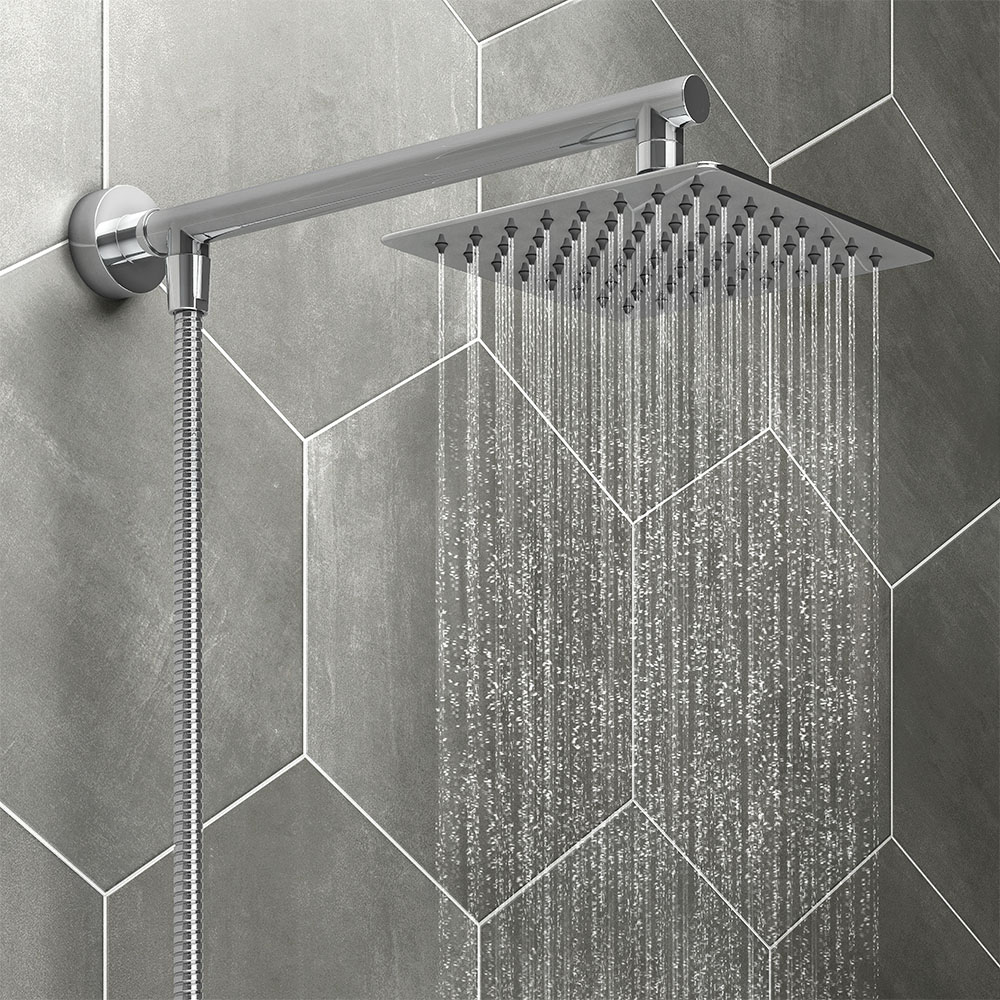 Milan 200mm Slim Rainfall Shower Head With 1 25m Flexible