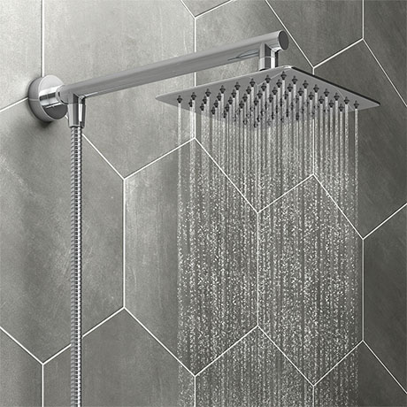 Milan 200mm Slim Rainfall Shower Head with 1.25m Flexible Hose