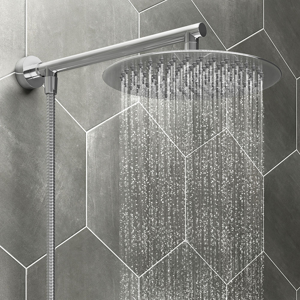 Cruze 200mm Slim Rainfall Shower Head With 1 25m Flexible Hose Victorian Plumbing Uk
