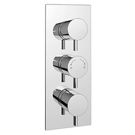 Cruze Triple Round Concealed Thermostatic Shower Valve with Diverter - Chrome
