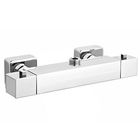 Milan Square Top Outlet Thermostatic Bar Shower Valve - Chrome Large Image