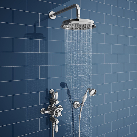Chatsworth 1928 Triple Exposed Thermostatic Shower (inc. Valve, Elbow, Handset + Fixed Shower Head)