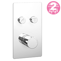 Cruze Twin Modern Round Push-Button Shower Valve with 2 Outlets Medium Image