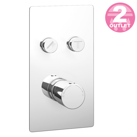 Cruze Twin Modern Round Push-Button Shower Valve with 2 Outlets