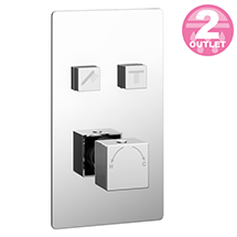 Milan Twin Modern Square Push-Button Shower Valve with 2 Outlets Medium Image