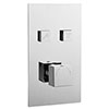 Milan Twin Modern Square Push-Button Shower Valve with 2 Outlets profile small image view 1