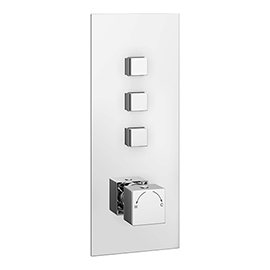Milan Triple Modern Square Push-Button Shower Valve with 3 Outlets
