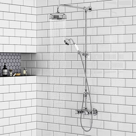 Chatsworth Thermostatic Shower with Diverter, Rigid Riser & Fixed Head