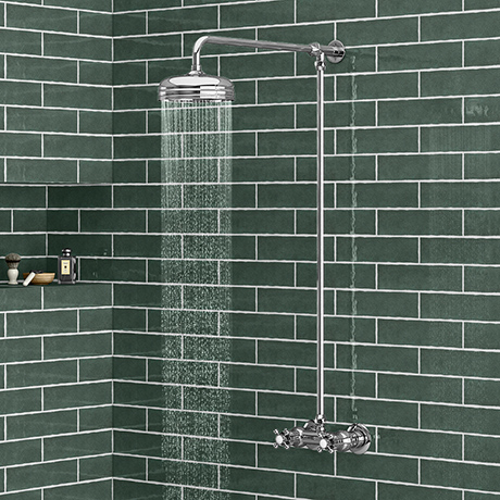 Chatsworth Thermostatic Shower Bar Valve with Rigid Riser & Fixed Head