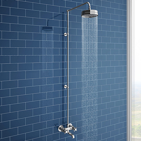 Chatsworth Thermostatic Shower Bar Valve with Rigid Riser & Bath Tap