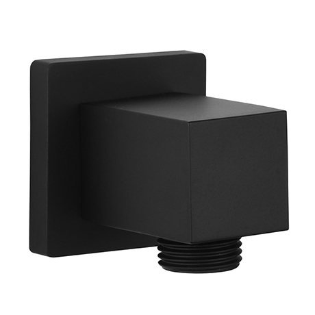 Arezzo Matt Black Square Elbow for Concealed Showers