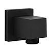 Arezzo Matt Black Square Elbow for Concealed Showers profile small image view 1