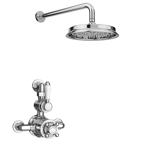 Chatsworth 1928 Twin Exposed Thermostatic Shower Pack (Inc. Valve, Elbow + Fixed Shower Head)