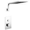 Milan Square Push-Button Concealed Shower Valve with 300x300mm Shower Head + Curved Arm profile small image view 1