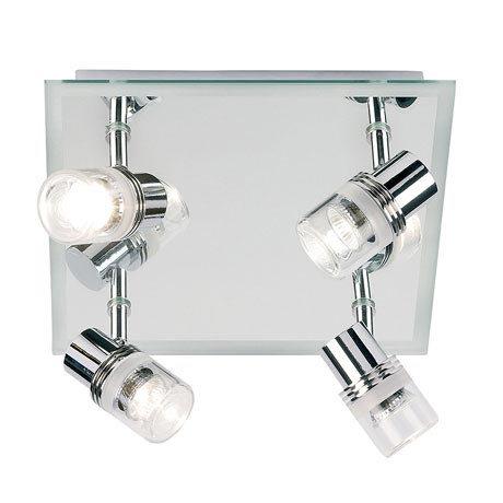 Endon - Delta Mirror Backed 4 Spotlight Ceiling Light Fitting - Chrome - EL-174