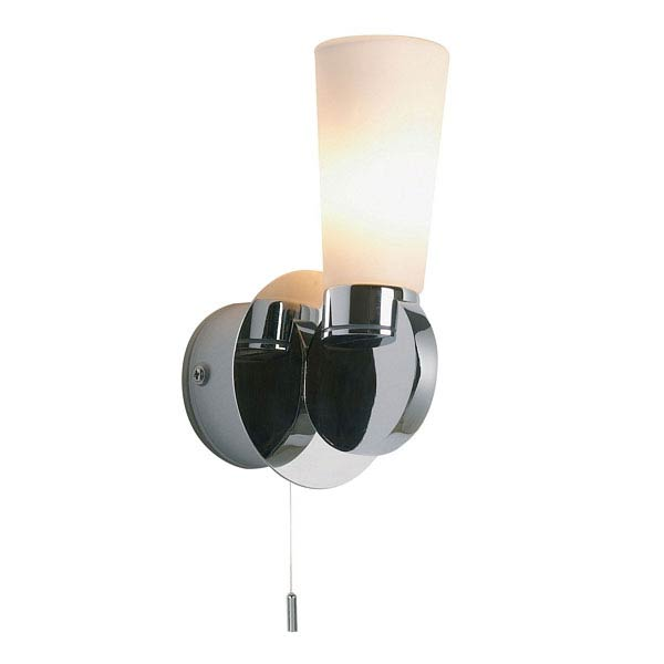 Endon - Enluce Cupped Single Wall Light with Pull Switch - Chrome - EL-20025 profile large image view 1