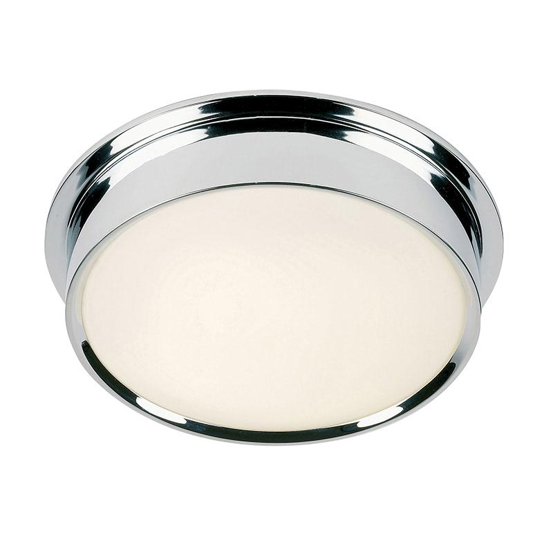 Endon - Houston Modern Flush Ceiling Light Fitting - Large - Polished Chrome Large Image