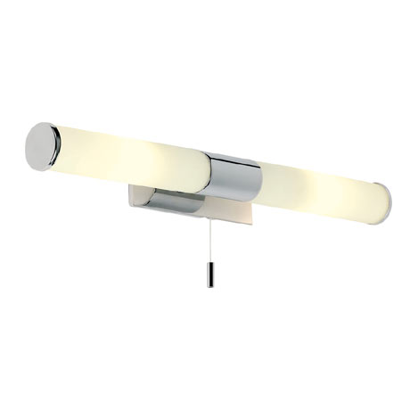 Endon - Enluce Dual Wall Light with Opal Glass & Pull Switch - Polished Chrome - EL-257-WB