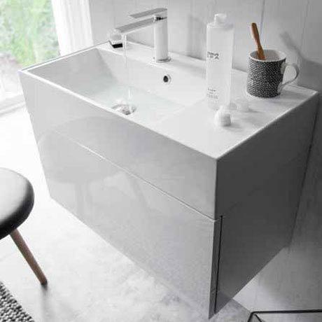 Bauhaus Elite Unit & Cast Mineral Marble Basin - White Gloss Feature Large Image