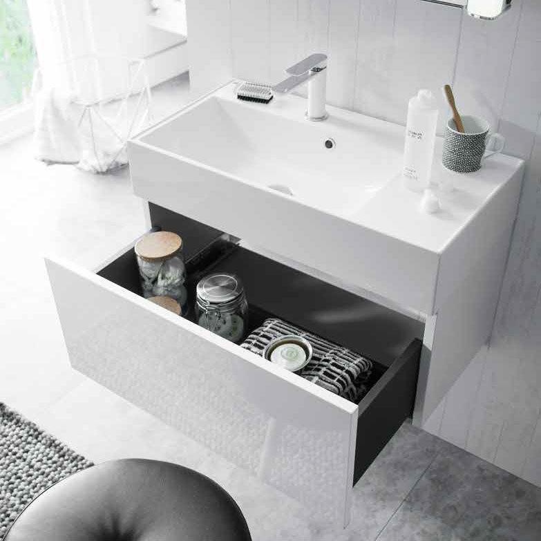 Bauhaus Elite Unit & Cast Mineral Marble Basin - White Gloss In Bathroom Large Image