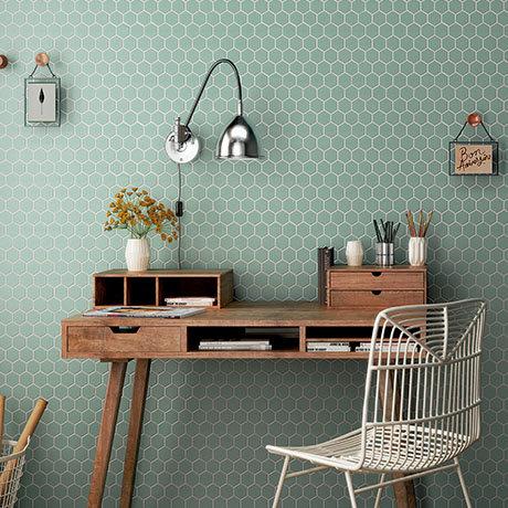 Elise Aquamarine Hexagon Wall and Floor Tiles - 170 x 520mm
