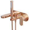 Elite Rose Gold Wall Mounted Bath Shower Mixer Tap + Shower Kit profile small image view 1