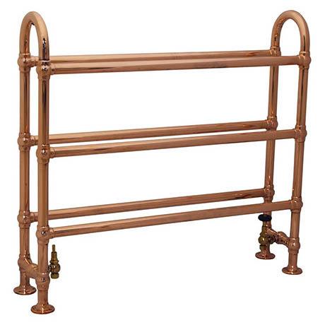 Elland Traditional 910 x 1000mm Freestanding Steel Towel Rail - Copper