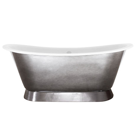 JIG Montreal 0TH Polished Pewter Lustre Cast Iron Roll Top Bath (1680 x 760mm)