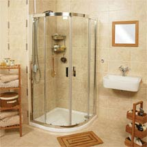 Roman - Embrace Twin Door Offset Quadrant Shower Enclosure - Various Size Options Medium Image