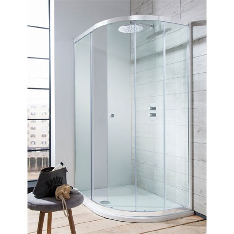 Simpsons Edge Offset Quadrant Single Door Shower Enclosure - 3 Size Options