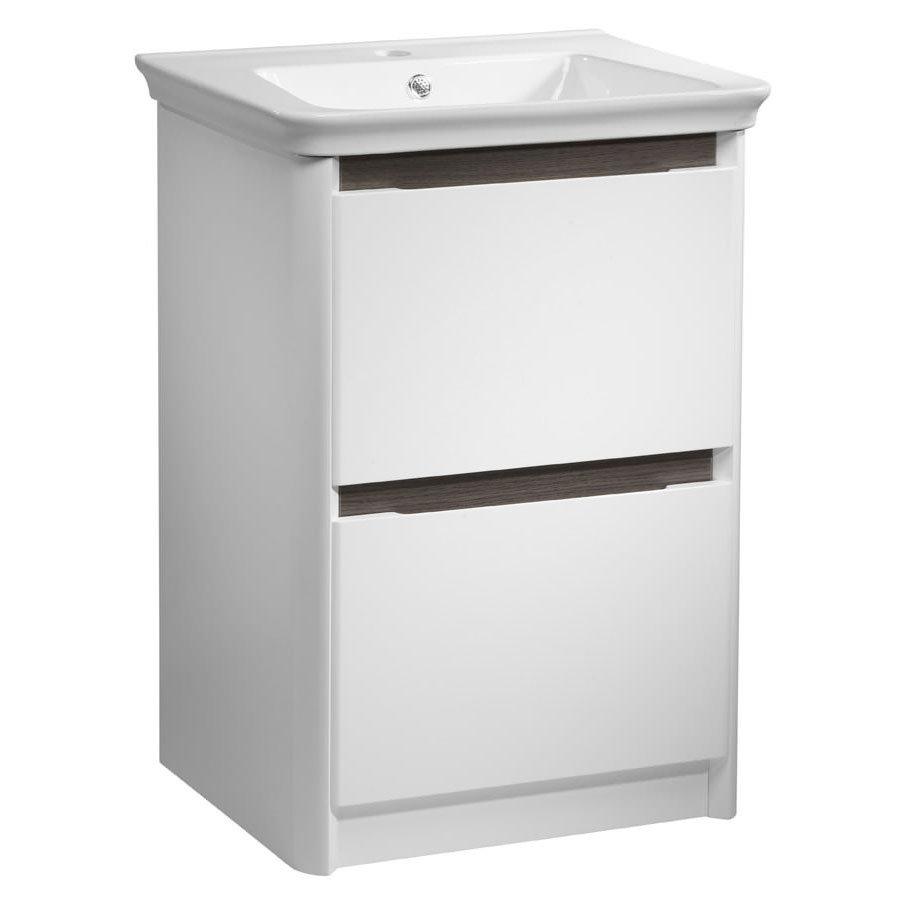 Tavistock Equate 600mm Freestanding Unit & Basin - Gloss White/Grey Oak profile large image view 1