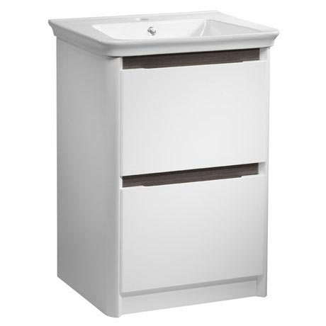 Tavistock Equate 600mm Freestanding Unit & Basin - Gloss White/Grey Oak